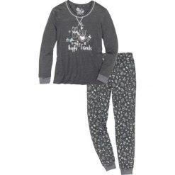 Piżama bonprix antracytowy melanż z nadrukiem. Szare piżamy damskie bonprix, melanż. Za 79,99 zł.