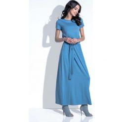 Niebieska Sukienka Maxi z Wiązanym Paskiem. Niebieskie długie sukienki Molly.pl, na lato, l, w paski, z tkaniny, z krótkim rękawem. Za 129,90 zł.