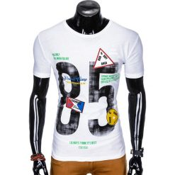 T-shirty męskie: T-SHIRT MĘSKI Z NADRUKIEM S990 - BIAŁY