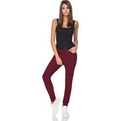 Spodnie dresowe damskie: Bordowe Spodnie Dresowe z Elastycznym Pasem