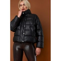 NA-KD Trend Kurtka skórzana Padded - Black. Szare kurtki damskie puchowe marki WED'ZE, m, z materiału. Za 364,95 zł.
