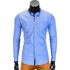 KOSZULA MĘSKA Z DŁUGIM RĘKAWEM K370 - BŁĘKITNA. Niebieskie koszule męskie na spinki Ombre Clothing, m, z bawełny, z kontrastowym kołnierzykiem, z długim rękawem. Za 49,00 zł.