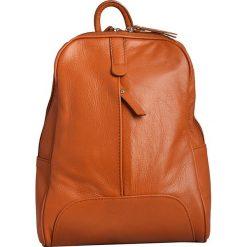 Plecaki damskie: Skórzany plecak w kolorze jasnobrązowym – 25 x 32 x 10 cm