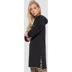 Długa bluza z kapturem - Czarny. Czarne bluzy z kapturem damskie marki DOMYOS, xl, z bawełny. Za 99,99 zł.
