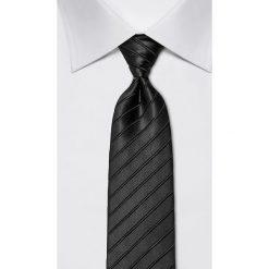 Krawaty męskie: Jedwabny krawat w kolorze antracytowym – szer. 8 cm