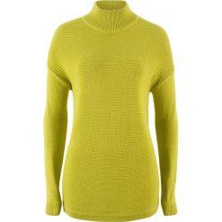 Sweter ze stójką bonprix pistacjowy. Niebieskie swetry klasyczne damskie marki ARTENGO, z elastanu, ze stójką. Za 32,99 zł.