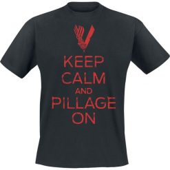 T-shirty męskie z nadrukiem: Vikings Keep Calm And Pillage On T-Shirt czarny