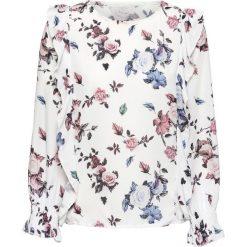 Bluzka z nadrukiem i falbanami bonprix biel wełny wzorzysty. Białe bluzki asymetryczne bonprix, z nadrukiem, z wełny, z długim rękawem. Za 59,99 zł.