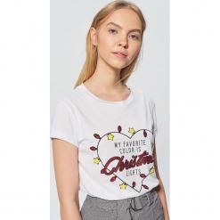 Świąteczna koszulka z aplikacją - Biały. Białe t-shirty damskie marki Cropp, l, z aplikacjami. Za 49,99 zł.