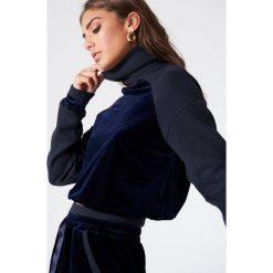 Bluzy rozpinane damskie: Vanessa Moe x NA-KD Aksamitna bluza - Navy