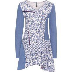 Tunika shirtowa bonprix niebieski dżins - pastelowy jasnoróżowy wzorzysty. Niebieskie tuniki damskie z długim rękawem bonprix. Za 79,99 zł.