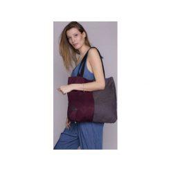 TORBA DAMSKA DUO fiolet. Fioletowe torebki klasyczne damskie drops, w paski, z bawełny. Za 94,00 zł.