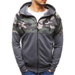 Bluzy męskie: Bluza męska rozpinana z kapturem antracytowa (bx3488)