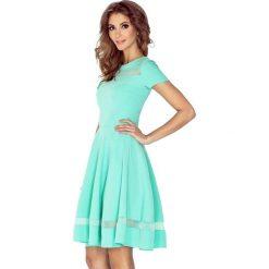 Miętowa Sukienka Rozkloszowana Midi z Tiulowymi Wstawkami. Zielone sukienki mini marki Molly.pl, na co dzień, l, z elastanu, eleganckie, z krótkim rękawem, dopasowane. Za 189,90 zł.