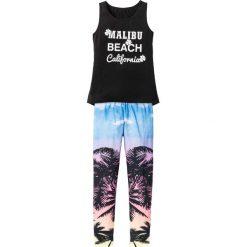 Top + legginsy (2 części) bonprix czarny. Czarne bluzki dziewczęce na lato bonprix, z nadrukiem. Za 49,99 zł.