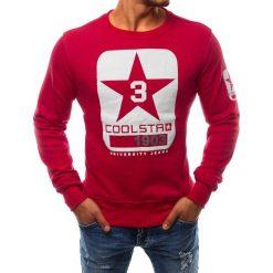 Bluzy męskie: Bluza męska bez kaptura z nadrukiem czerwona (bx2410)