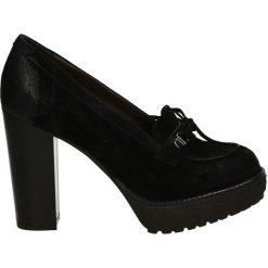 Czółenka - 172M5307 NERO. Czarne buty ślubne damskie Venezia, ze skóry, na platformie. Za 259,00 zł.