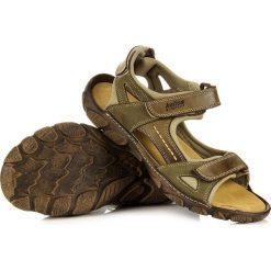 Sandały męskie skórzane: Skórzane oliwkowe sandały męskie HELIOS 850