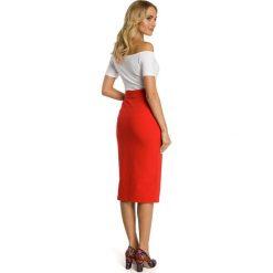 CIDNEY Ołówkowa spódnica z wysoką talią i zamkiem - czerwona. Czerwone spódniczki ołówkowe Moe, sportowe. Za 99,00 zł.