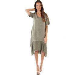 Sukienki: Lniana sukienka w kolorze khaki