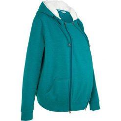 Bluza rozpinana ciążowa z wstawką niemowlęcą na nosidełko i miękką spodnią stroną bonprix kobaltowo-turkusowy melanż. Czerwone bluzy ciążowe marki DOMYOS, z nadrukiem, z bawełny. Za 149,99 zł.