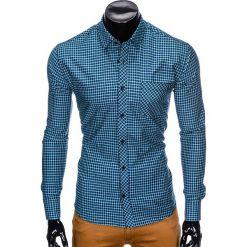 Koszule męskie: KOSZULA MĘSKA W KRATĘ Z DŁUGIM RĘKAWEM K423 – GRANATOWA/ZIELONA