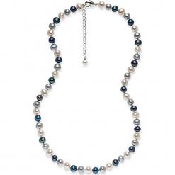 Perłowy naszyjnik w kolorze niebiesko-srebrno-białym - dł. 42 cm. Żółte naszyjniki damskie marki METROPOLITAN, pozłacane. W wyprzedaży za 159,95 zł.