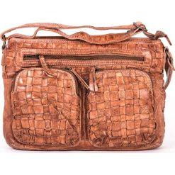 Torebki klasyczne damskie: Skórzana torebka w kolorze beżowym – 31 x 22 x 7 cm