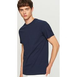 T-shirty męskie: Gładki T-shirt Basic - Granatowy