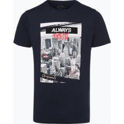 Jack & Jones - T-shirt męski, niebieski. Czarne t-shirty męskie z nadrukiem marki Jack & Jones, l, z bawełny, z klasycznym kołnierzykiem, z długim rękawem. Za 49,95 zł.