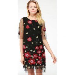 Sukienka - 46-2980 NERO. Czarne sukienki hiszpanki Unisono, m, z elastanu, z krótkim rękawem, mini. Za 139,00 zł.