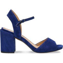 Sandały HANA. Niebieskie sandały damskie na słupku marki Gino Rossi, w paski, ze skóry, na wysokim obcasie. Za 199,90 zł.