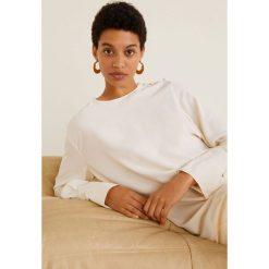 Mango - Bluzka Evi. Szare bluzki wizytowe Mango, l, z tkaniny, eleganckie, z okrągłym kołnierzem, z krótkim rękawem. Za 139,90 zł.