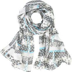 Chusta w ornamentowy deseń bonprix czarno-lazurowo-beżowo-biały. Czarne chusty damskie marki bonprix. Za 21,99 zł.