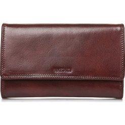 Portfele damskie: Skórzany portfel w kolorze ciemnobrązowym – 18 x 10 x 3 cm