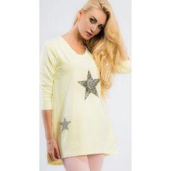 Tuniki damskie: Cytrynowa tunika z gwiazdami z dłuższym tyłem 3329