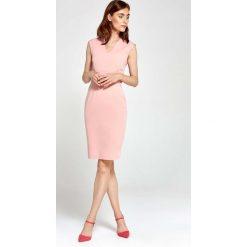 Różowa Sukienka Ołówkowa bez Rękawów z Dekoltem V. Czarne sukienki balowe marki Molly.pl, na spotkanie biznesowe, l, z tkaniny, z dekoltem na plecach, dopasowane. Za 159,90 zł.