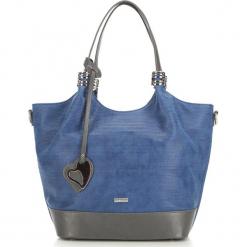 Torebka damska 87-4Y-751-7. Niebieskie shopper bag damskie Wittchen, w geometryczne wzory. Za 129,00 zł.