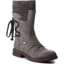 Kozaki RIEKER - 94773-45 Grau Kombi. Szare buty zimowe damskie marki Rieker, z materiału, na obcasie. Za 299,00 zł.