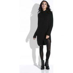 Tuniki damskie z długim rękawem: Czarny Sweter-Tunika z Półgolfem