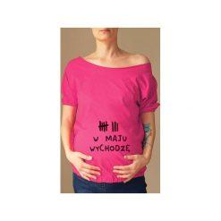 Różowy ciążowy oversize tshirt wychodzę w s-xxl. Czerwone bluzki ciążowe One mug a day, s, z nadrukiem, z bawełny. Za 89,00 zł.