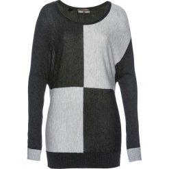 Sweter bonprix jasnoszary melanż - antracytowy melanż. Szare swetry klasyczne damskie bonprix. Za 89,99 zł.