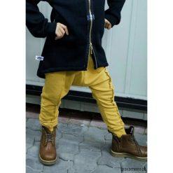 Spodnie musztardowe. Szare spodnie dresowe dziewczęce Pakamera, z bawełny. Za 89,00 zł.