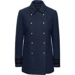 Krótki płaszcz ze złotymi guzikami bonprix ciemnoniebieski. Niebieskie płaszcze damskie pastelowe bonprix, eleganckie. Za 239,99 zł.