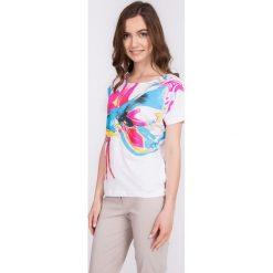 Bluzki damskie: Bluzka ecru z różowo-niebieskim wzorem QUIOSQUE