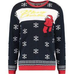 Swetry klasyczne męskie: Shine Original MERRY CHRISTMAS Sweter dark navy