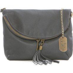 Torebki klasyczne damskie: Skórzana torebka w kolorze szarym - 22 x 18 x 2 cm