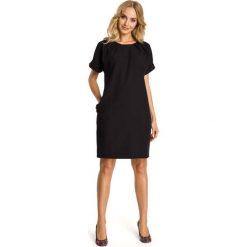 Czarna Sukienka z Krótkim Reglanowym Rękawem. Czarne sukienki hiszpanki Molly.pl, na co dzień, l, wizytowe, z krótkim rękawem, mini, oversize. Za 112,90 zł.