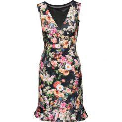 Sukienki hiszpanki: Sukienka w kwiaty bonprix czarno-jasnoróżowo-zielony