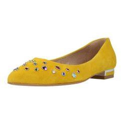 Baleriny damskie lakierowane: Skórzane baleriny w kolorze żółtym